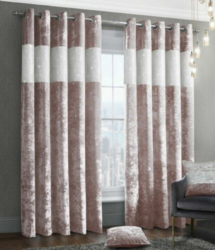 Stylish Diamante Crushed Velvet Modern Textured Ringtop Eyelet Pair Of Curtains Blush Pink Colour